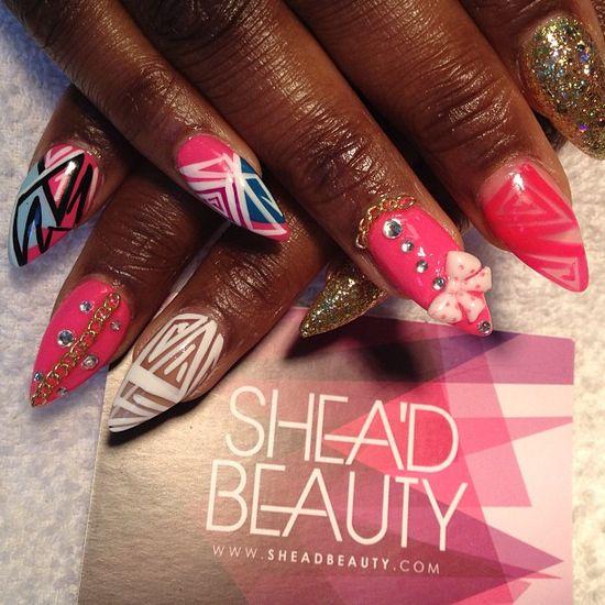 Cute and girly nails ???? #nails #nailart #london...