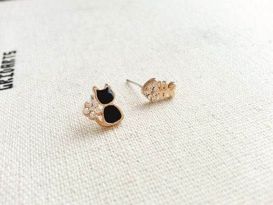 Cute Cat and Fish Studs Earringsimple delicate by HappyGreenDay, $14.00