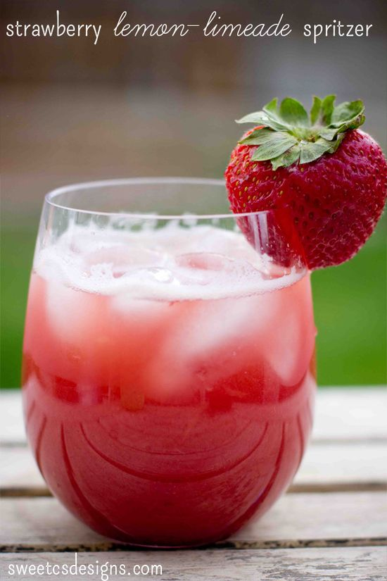 Strawberry lemon-limeade spritzer- the most refreshing drink in summer! See it at @Courtney Baker O'Dell #summersippers #strawberry