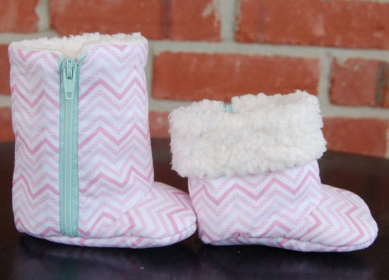 Baby Girl Shoes in Pink Chevron with Turquoise Zipper