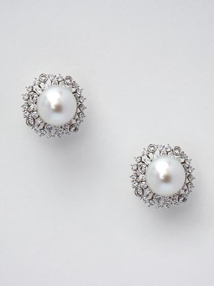 Pearl & Diamond Floral Stud Earrings by Tara Pearls
