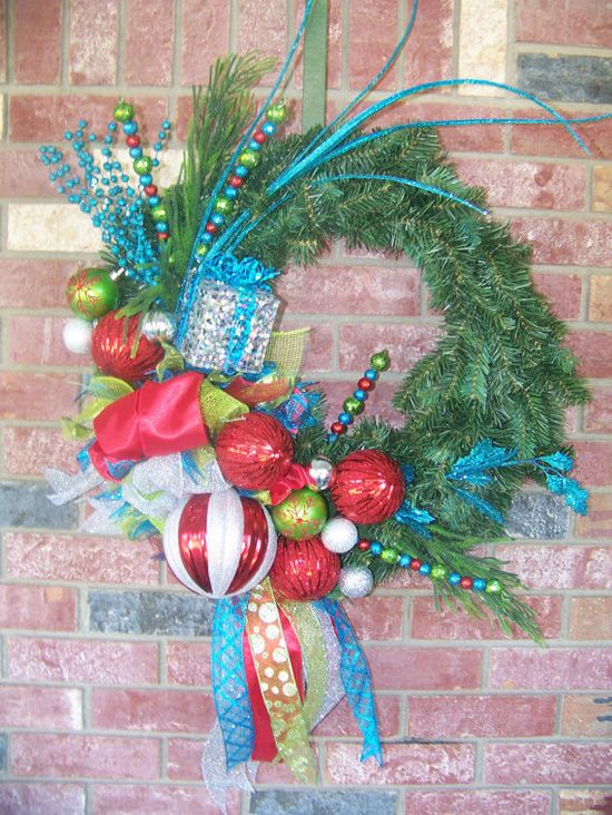 Lime green, turquoise and red christmas wreath.  LOVE the colors!
