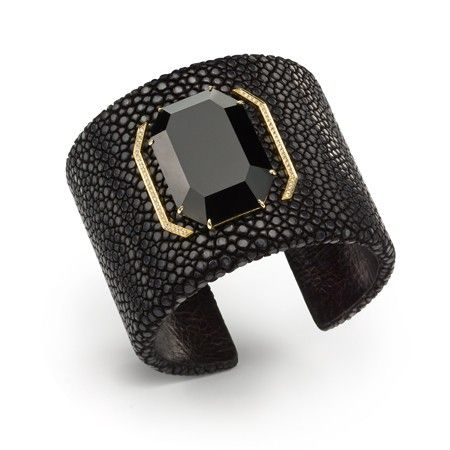 Black Galuchat Cuff Bracelet with Black Onyx Octagon and Diamonds