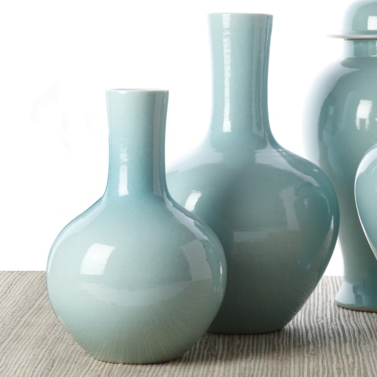Vases, Chinese Aqua Porcelain, so classic, over 3,000 beautiful limited production interior design inspirations inc, furniture, lighting, mirrors, tabletop accents and gift ideas to enjoy pin and share at InStyle Decor Beverly Hills Hollywood Luxury Home Decor enjoy & happy pinning