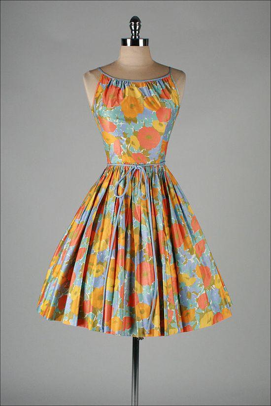 1950's ILENE RICKY Polished Cotton Dress