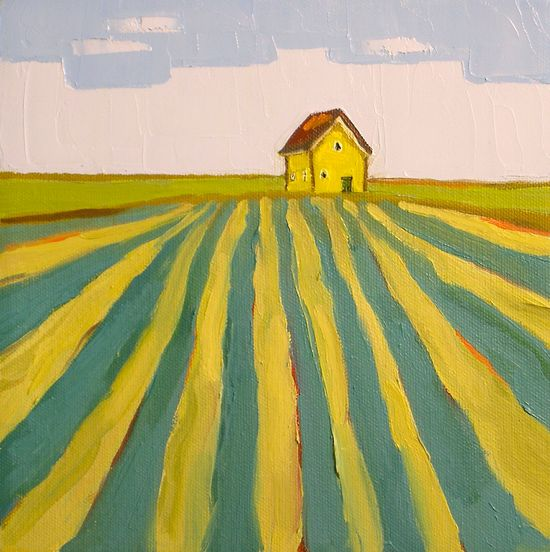 Golden Farmhouse- 8x8 Original Barn Oil Painting on Canvas- Farm Landscape. $75.00, via Etsy.