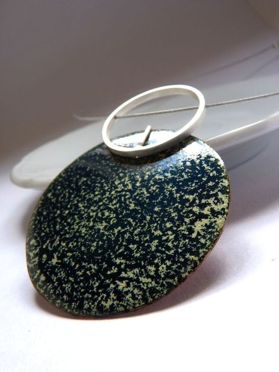 XL Incompatibility Pendant  Green Enamel  Sterling by aforfebre, $45.00