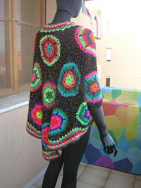 Asimmetric Black-Multicolor Hexagonal Crochet Poncho