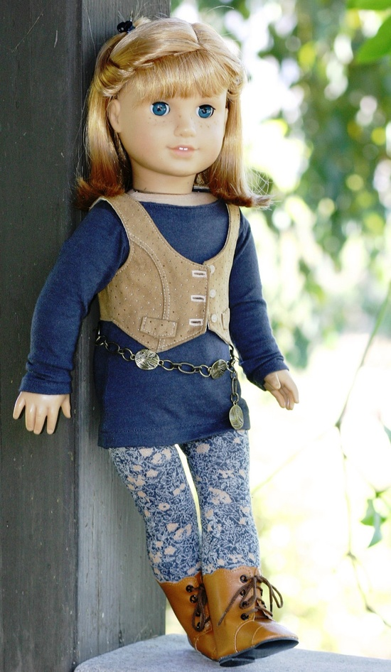 American Girl Doll Clothes - Tunic Top, Suede Vest, Floral Leggings, Chain Belt. $48.00, via Etsy.