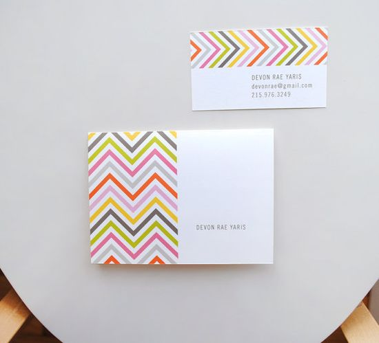 Chevron Design - modern graphic personal or business calling cards - set of 36