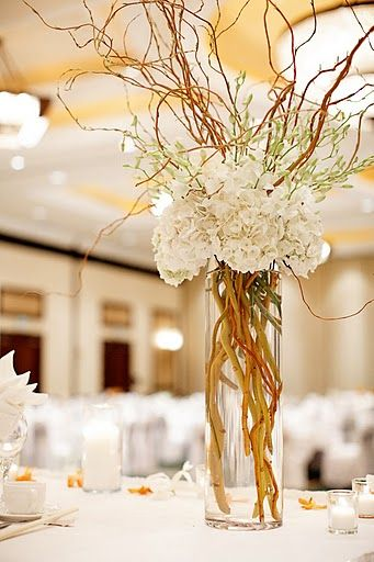 white hydrangeas & branches - I can add white wax flower to the branches for the blossom look