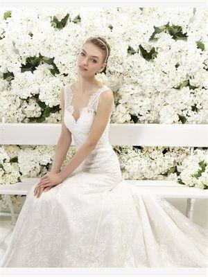 White A Line Lace 2014 Wedding Dress
