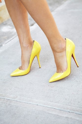 Bright-yellow Louboutins