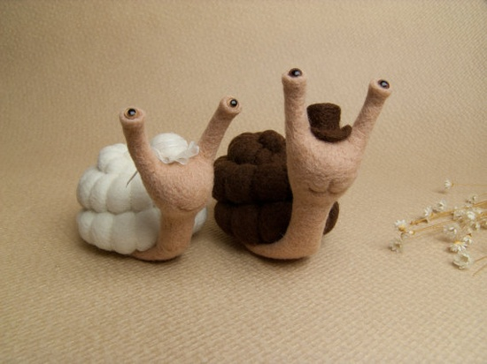 Cake Topper - Bride and Groom - Needle Felted Snails