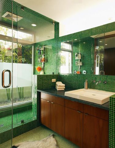 bathroom #green #tile #home #house #bathroom #shower