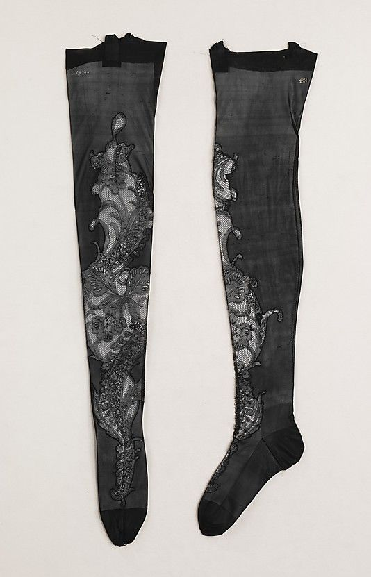 French silk stockings with lace inserts 1900-1810