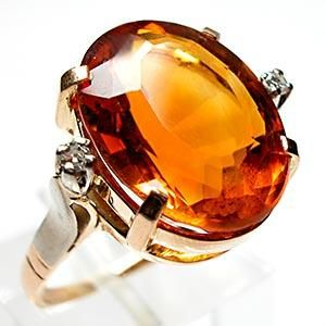 VINTAGE NATURAL CITRINE & DIAMOND COCKTAIL RING SOLID 14K GOLD