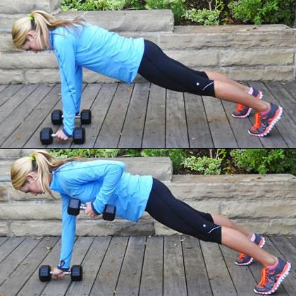 #Plank with Dumbbell Row  So good for the core!