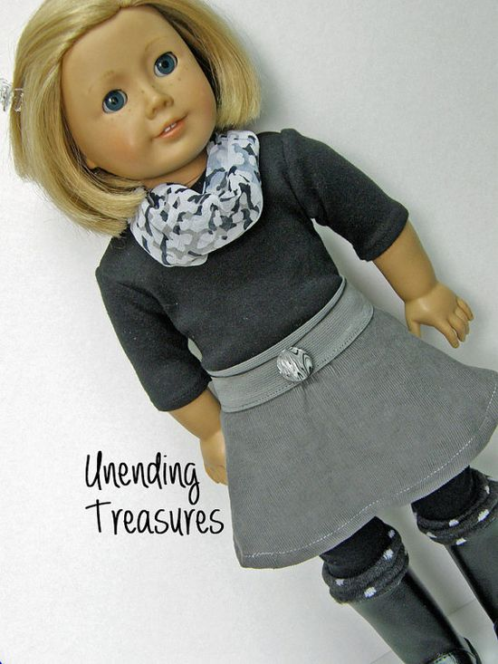 American Girl doll clothes, 18 inch doll clothes, gray skirt, black top, scarf, belt/necklace, boot toppers on Etsy, $20.00