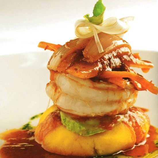 Peruvian Causa with Fresh Water Shrimp Escabeche  via @The Travelers Collection