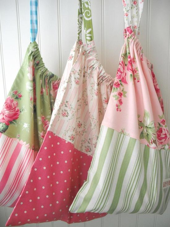 Drawstring carry all bag - Green cabbage rose bag. $20.00, via Etsy.