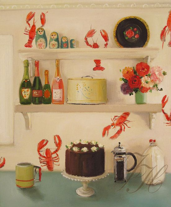 The Devil's Food Cake Original Oil Painting by janethillstudio, $480.00