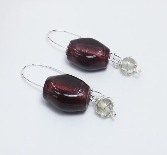 Big Purple Glass Beads on Long SilverPlated Earwires by tzteja, $12.00  #earrings, #beaded, #designsbytamiza, #handmade, #ooak, #purple, #dangle