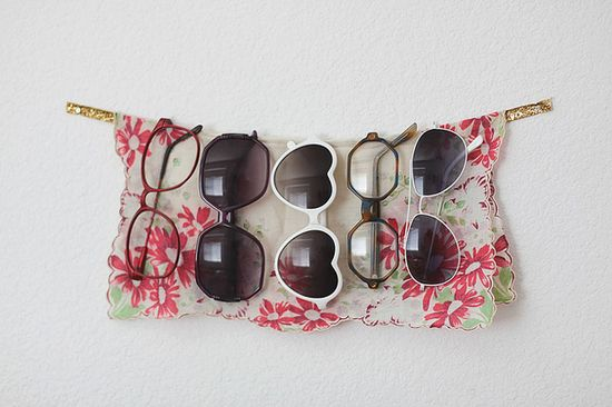make a sweet little display for eyeglasses / sunglasses with a sturdy ribbon and a headscarf ! 52 Totally Feasible Ways To Organize Your Entire Home