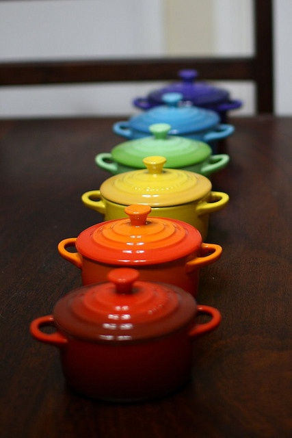 Rainbow Le Creuset!                                                                                                            flour power             by        raccoonandlobster      on        Flickr
