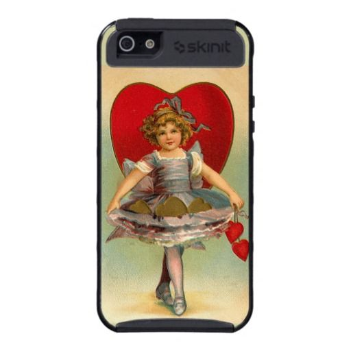 Vintage Romantic Valentine Illustration Girl Heart Case For iPhone 5 on Zazzle - From my collection of retro/vintage images - I think this one is just darling.