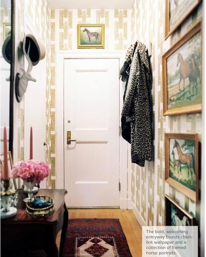 love this hallway decor #horses #lonnymag