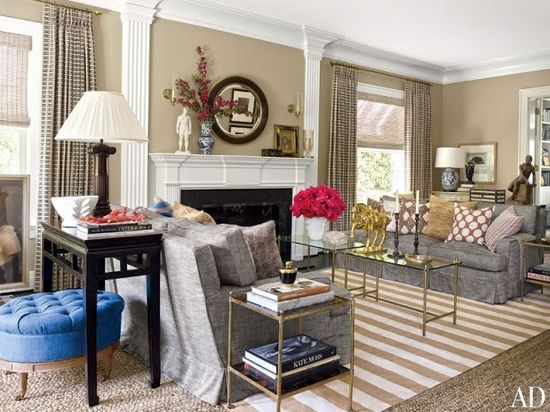The Gorgeous Home of Dave DeMattei and Patrick Wade #livingroom #stripes
