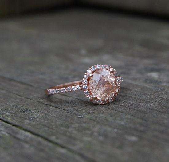 round Peach Champgane sapphire diamond ring 14k rose gold