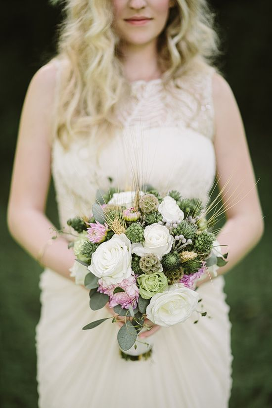 green, white and pink wedding bouquet www.weddingchicks...