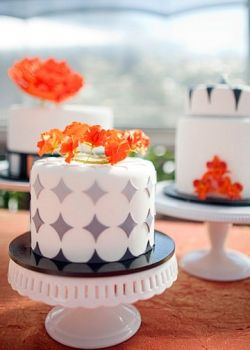 orange and gray wedding cakes