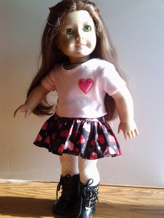 American Girl Doll Clothes Valentine Red Hearts by GirlSewChic, $12.00