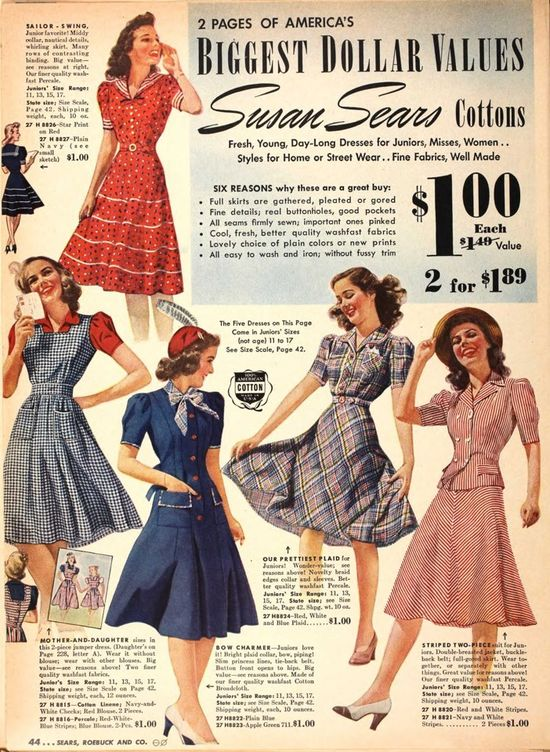 Charming warm weather 1940s dress styles