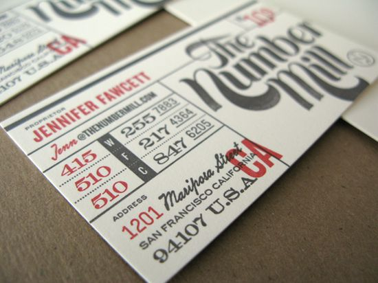 Business card for The Number Mill. Custom typeface by Patrick Griffin of Canada Type - Design, Art Direction by the Big Animals