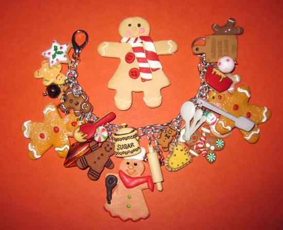 Christmas Jewelry Charm Bracelet Baking Gingerbread Man Cookies Sweet Treats OOAK Eclectic Original Chunky Loaded Beads Charms & Trinkets $36