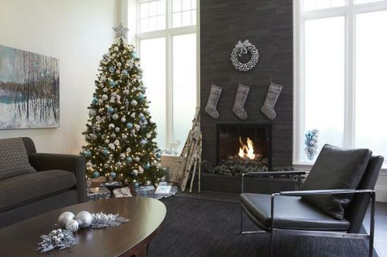 Cozy fireplace + Christmas decorations