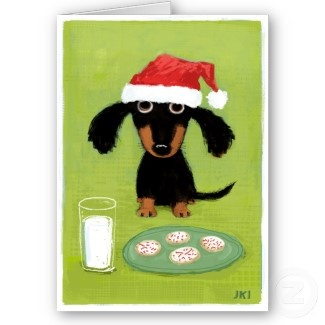 #Christmas #Card #Noel #Doxie ? Love #Milk #Cookies #Santa #Dog #Dachshund
