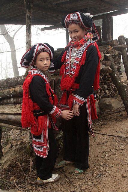 vietnam - red dao wedding    Festivities in traditional dress of a Red Dao wedding (Northern Vietnam).