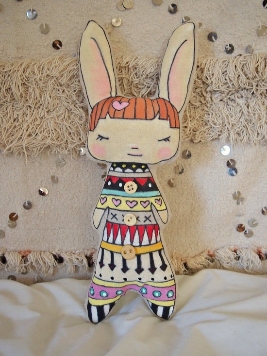 Millie the Rabbit Girl softie folk doll.