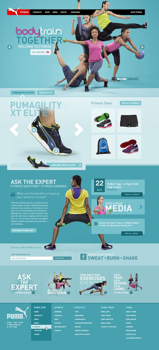 Web Design PUMA Fitness - Owen Shifflett : Design, Illustration, & Art Direction