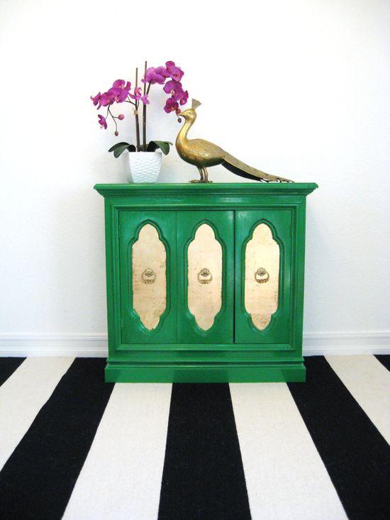 Vintage Emerald Green + old leaf credenza cabinet bar