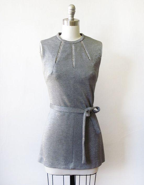 vintage 60s silver mod metallic dress