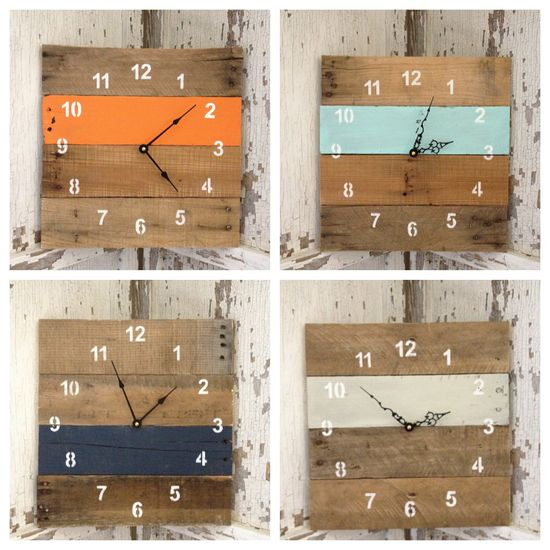 LOVE these Reclaimed Pallet Wood Wall Clock (Your Color Choice). $35.00, via Etsy.