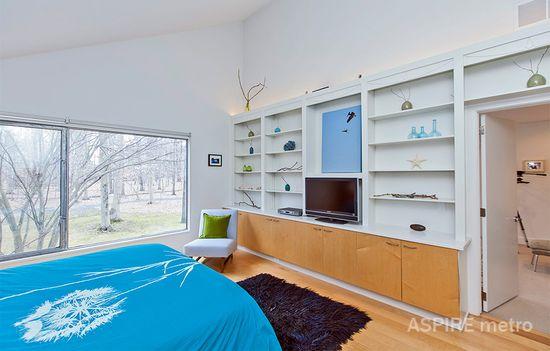 Open space, blues interior design bedroom