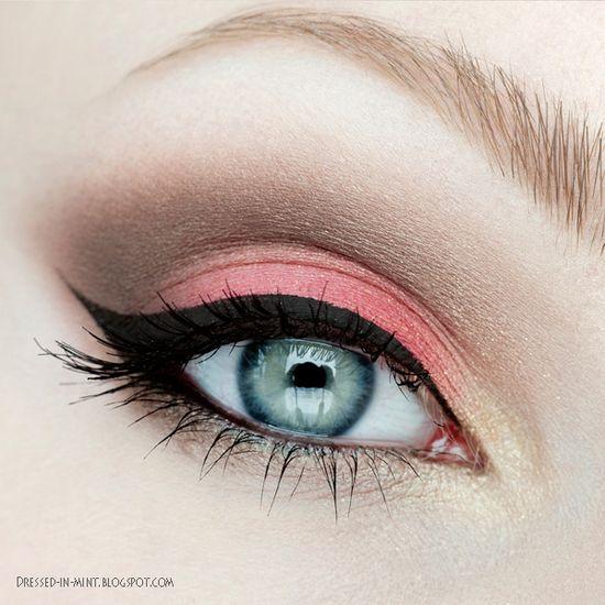Coral, brown, gold eyeshadows with winged liner #vibrant #smokey #bold #eye #makeup #eyes