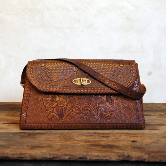 Tooled Leather Handbag // 1930s Oversize Clutch // Vintage Purse $228